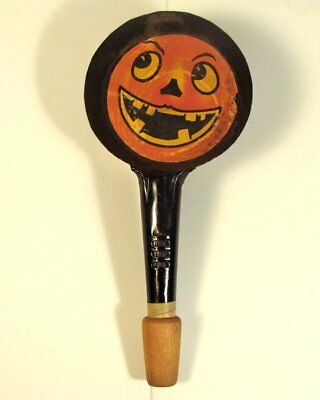 1920s? Halloween Noisemaker Tin Pan Clanger and Horn by T. Cohn Smiling JOL
