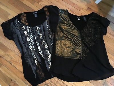 Buckle Womens BKE Boutique Short Sleeve Shirts LOT Size Small Black