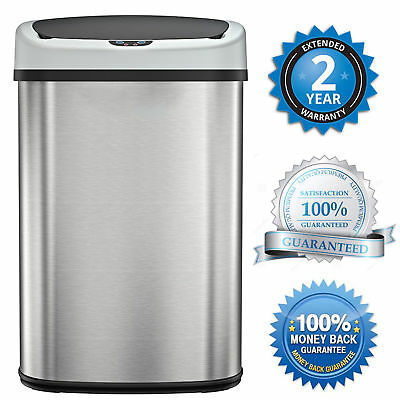 Automatic Stainless Steel Trash Garbage Can Touch Free Motion Sensor Touchless