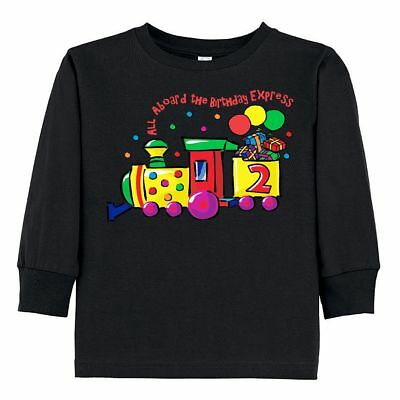 Inktastic 2nd Birthday Express Toddler Long Sleeve T Shirt Choo Train All Aboard