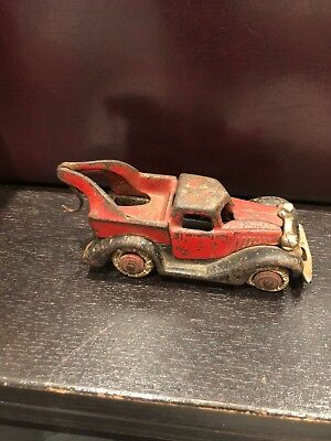 Rare Vintage Hubley Cast Iron Terraplane Tow Truck Red With Hook