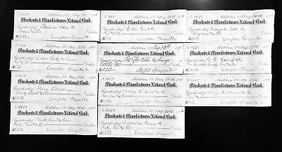 Lot of 11 1891 Antique Bank Checks From New York
