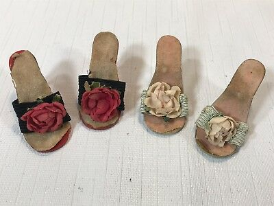 Two Pair of Vintage Madame Alexander Cissy Doll Shoes- Backless Heels w Flowers