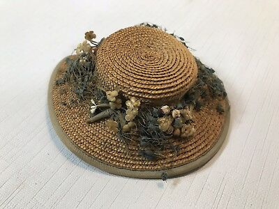 Vintage 1950s Madame Alexander Cissy Straw Hat with Flowers