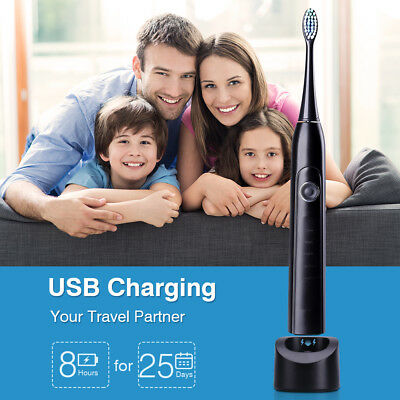 Portable Sonic Electric Toothbrush Rechargeable 5 Modes 2 Min Timer w/ 2 Head US