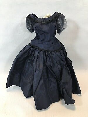 Vintage  50s Madame Alexander Cissy Tagged  Navy Blue Taffeta  Doll Dress