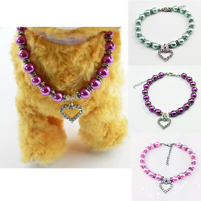 Bling Pet Dog Cat Party Diamond Necklace Colorful Rhinestone Pearl Collar S/M/L