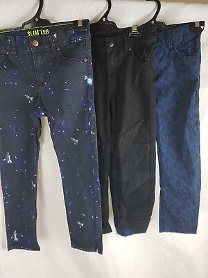 Lot Of 3 Boys Jeans 6-7 H&M Black, Space, Print