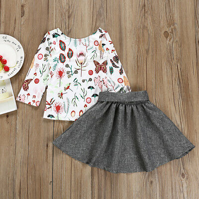 Toddler Kids Baby Girl Winter/Spring Dress Long Sleeve Floral Tops+Skirt Clothes