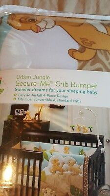Disney Baby Urban Jungle Secure-Me 4-Piece Infant Crib Bumper Set
