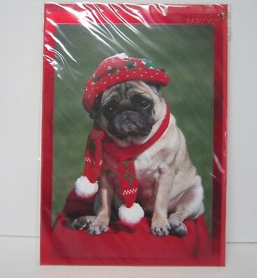 Pug Christmas Card with Envelope