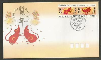 CHRISTMAS ISLAND - 1996 Chinese New Year - Year of the Rat   - FIRST DAY COVER.