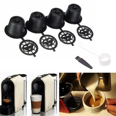 4Pcs Refillable Reusable Coffee Capsules Pods For Nespresso Machine +Spoon Brush
