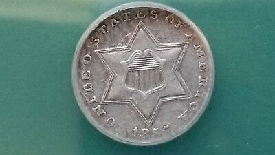 1855 3CS Three Cent Silver AU50 - Cleaned - Only 139,000 minted