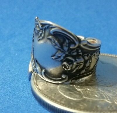 Art Nouveau Style Rose Spiral/Wrap Around Sterling Silver Spoon Ring size 7
