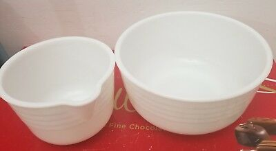 2 Pyrex for General Mills White Milk Glass Vintage Mixing Bowl Large Round USA