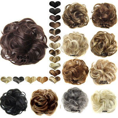 Girl Real Natural Curly Messy Bun Hair Piece Scrunchie Hair Extensions 20 Colors