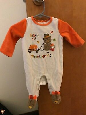 BABY STARTERS BABYS 1st THANKSGIVING TURKEY FOOTED SLEEPER (3 Month)