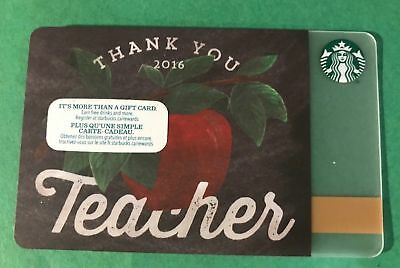 Thank You 2016 Teacher Apple Starbucks Coffee Gift Card From Canad No Value