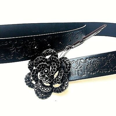Fossil Size L Tooled Leather Belt Black Floral Jeweled Metal Buckle New W Tags