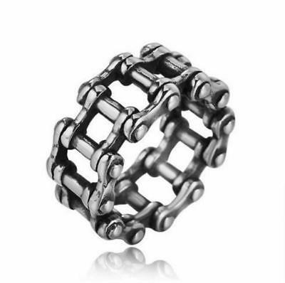 Punk Stainless Steel Creative Locomotive Chain Ring Men Women Jewelry Band Gift