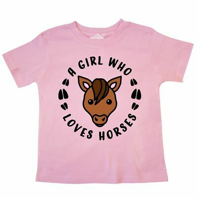 Inktastic A Girl Who Loves Horses Toddler T-Shirt Animals Horse I Love Lover Kid