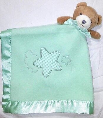 Bright Future Baby Bear Lovey Green Satin Trim Security Blanket Unisex Star NEW