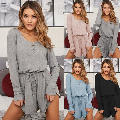 Womens Long Sleeve Jumpsuit Crew Neck Romper Summer Beach Casual Shorts Clubwear