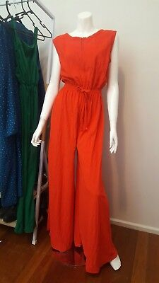 Vintage 60's 70sp's Red Terry Cloth Flare Pants Jumpsuit