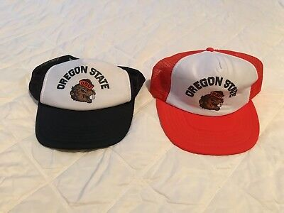 Vintage OREGON STATE UNIVERSITY BEAVERS SnapBack hats lot of 2 rare! OSU