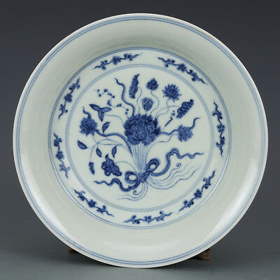 """8"""" China Antique Porcelain Ming chenghua Blue & white A bunch of lotus Plate P7"""