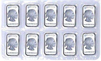 Sheet of 10 - Indian Head 1 troy oz .999 Fine Pure Silver Bars ** Mint Sealed **