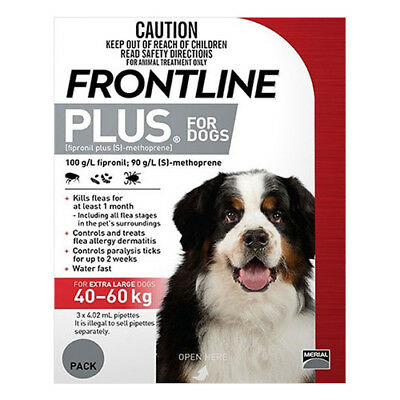 Frontline Plus for Dogs 40-60 kgs RED Fleas Ticks ALL SIZES  $$ REDUCED $$