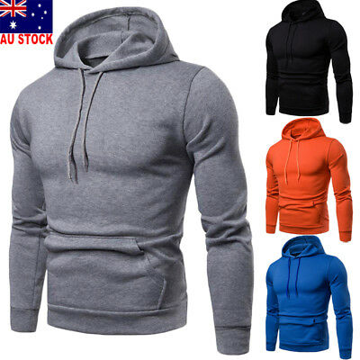 Men's Winter Slim Hoodie Warm Hooded Sweatshirt Coat Jacket Outwear Sweater AU