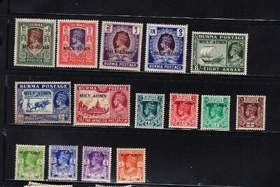 Burma stamps ,. year 1945, King George VI,MILY ADMIN,Military Civil Admin ** mnh