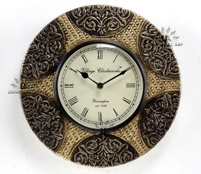 Vintage Home Decor Antique Look Brass Engraving Work Wall Clock Ethnic IndiaB138