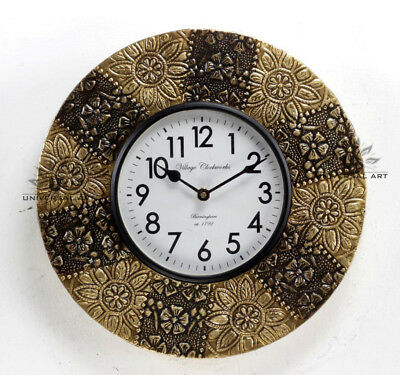 Vintage Home Decor Antique Look Brass Engraving Work Wall Clock Ethnic IndiaA155