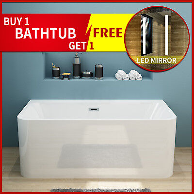 Bathroom Freestanding Bath tub 1700x750x580mm Back to Wall Acrylic with Overflow