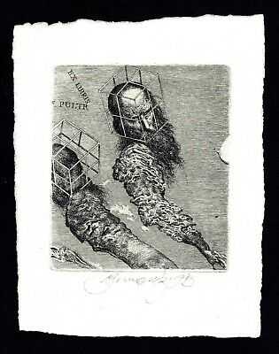 BRUNOVSKY Albin, Fine etching signed ex libris Pultr, 1973, Very very rare !