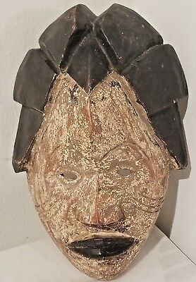 African Wood Carved Mask 12 - 13 inches