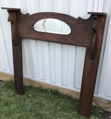 Original Vintage W.woodend Art - Solid Timber Mantel With Mirror