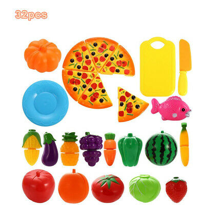 24pcs Plastic Cutting Fruits and Vegetables Set Pizza Play Food Kitchen Kid Toy