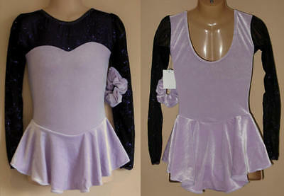 8y CHILD Ice Roller Skating Dress Purple Velvet Majorette Dance Costume Leotard