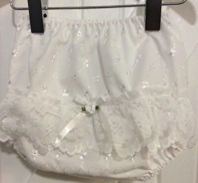 Baby Girl Newborn White Frilly Pants Ribbon Bow Lace & Flower  Bud Detail NEW