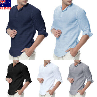 Fashion Mens Casual Shirts Business Dress T-shirt Long Sleeve Slim Fit Tops  AU