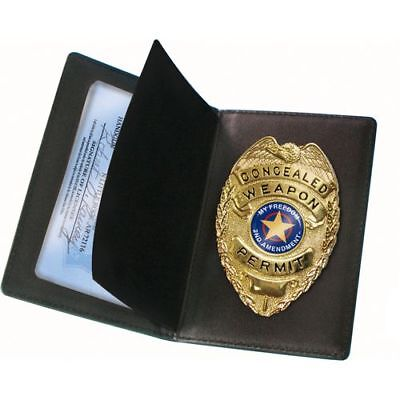 Concealed Carry Novelty Badge & Leather Wallet - High Quality Metal & Finish