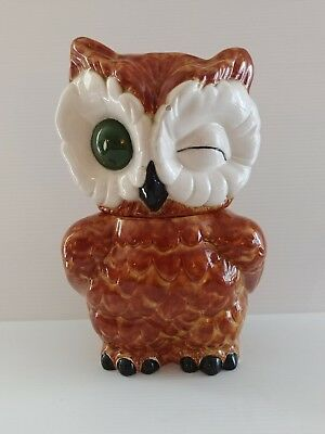 Shawnee winking owl cookie jar brown 1940s made in the USA marked vintage