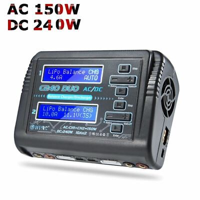 RC LiPo Charger HTRC C240 DUO AC/150W DC/240W Dual Channel 10A Balance Discharge