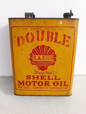 Nice Early Double Shell One Gallon Oil Tin Can  Rare