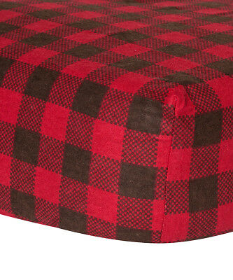 Trend Lab Brown & Red Buffalo Check Fitted Crib Sheet